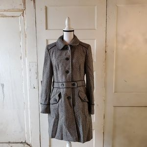 ANN TAYLOR LOFT Button Up Knee Length Coat